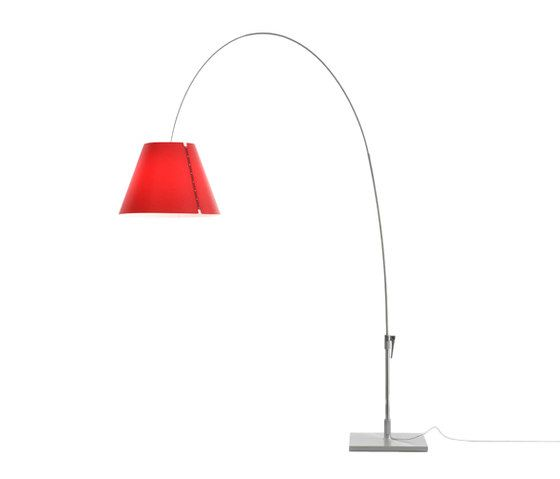 Lady Costanza floor, on/off switch, Alu Body, Primary Red Shade by LUCEPLAN