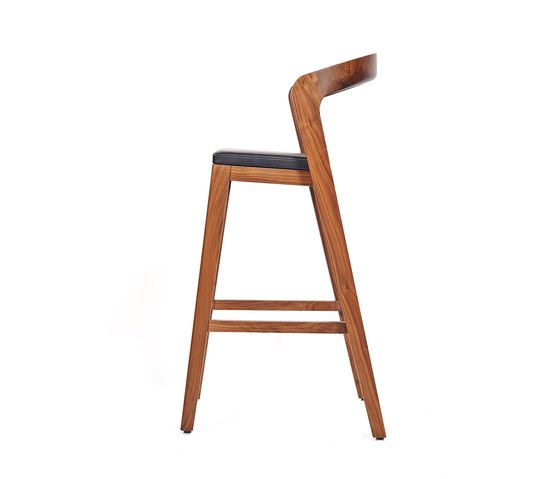 Play Barstool High – Solid American Walnut with black calf leather cushion by Wildspirit by Wildspirit