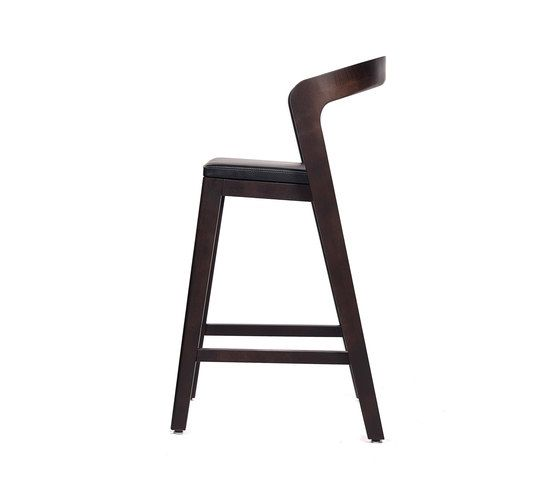 Play Barstool Low – Oak Stained with black calf leather cushion by Wildspirit by Wildspirit