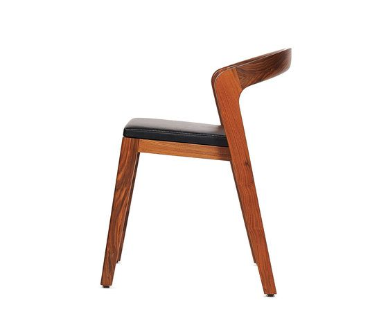 Play Chair – Solid American Walnut with black calf leather cushion by Wildspirit by Wildspirit