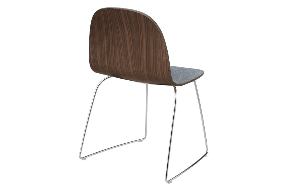 2D Dining Chair - Front Upholstered, Sledge base, Stackable by Gubi