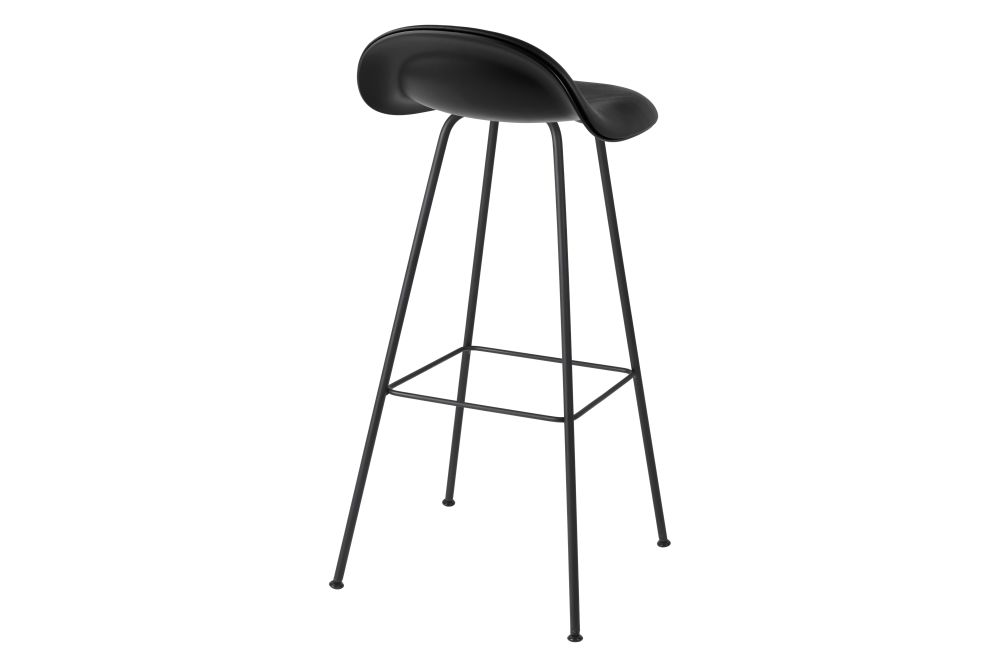 3D Bar Stool - Front Upholstered, Center base, Hirek Shell by Gubi