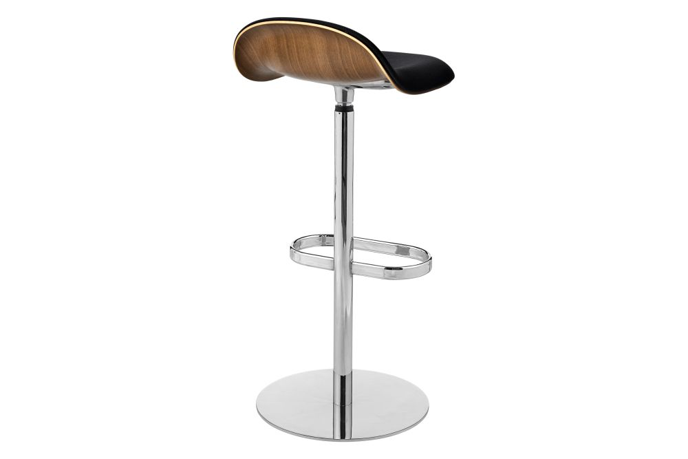 3D Bar Stool - Front Upholstered, Returning swivel base, Wood Shell by Gubi
