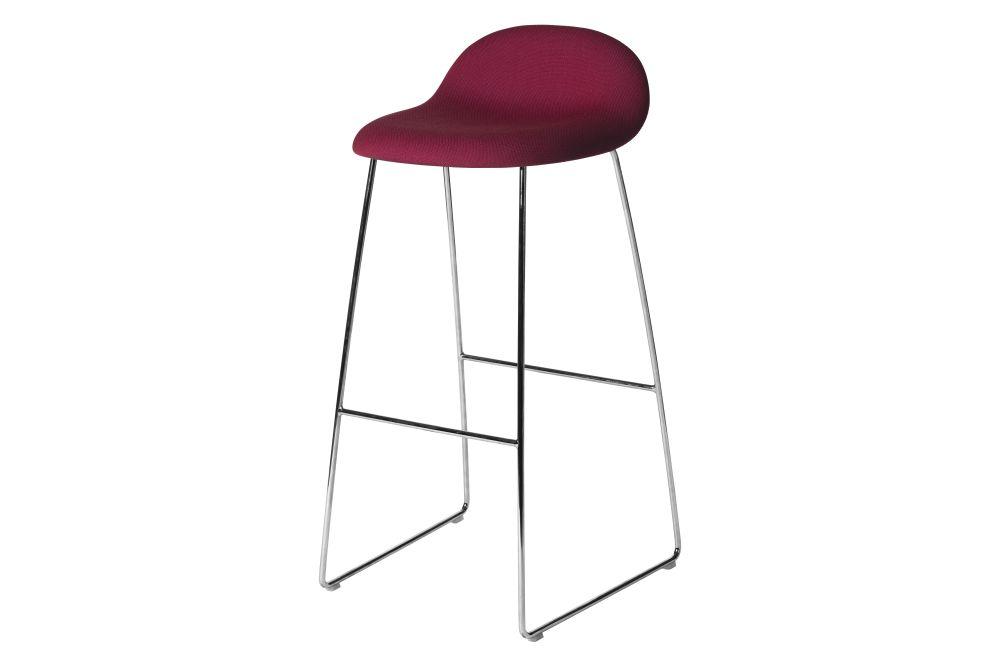 3D Bar Stool - Fully Upholstered, Sledge base by Gubi