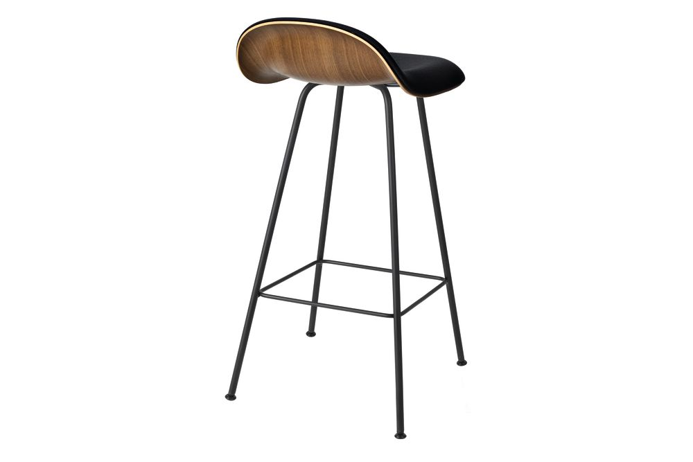 3D Counter Stool - Front Upholstered, Center base, Wood Shell by Gubi