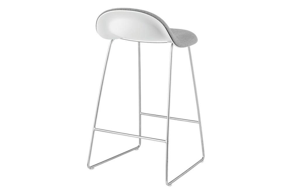 3D Counter Stool - Front Upholstered, Sledge base, Hirek Shell by Gubi