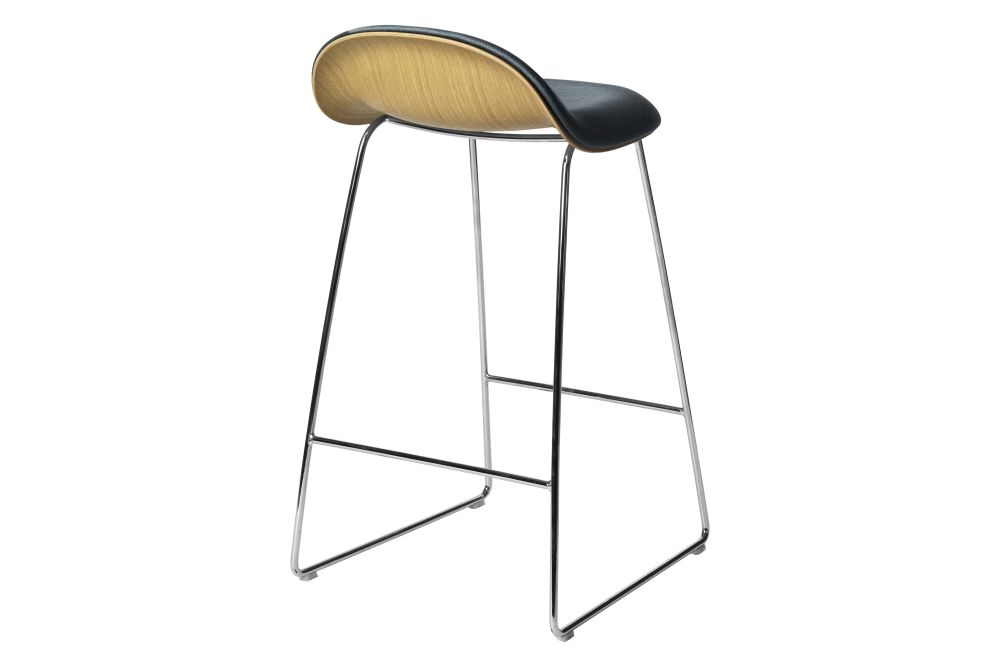 3D Counter Stool - Front Upholstered, Sledge base, Wood Shell by Gubi
