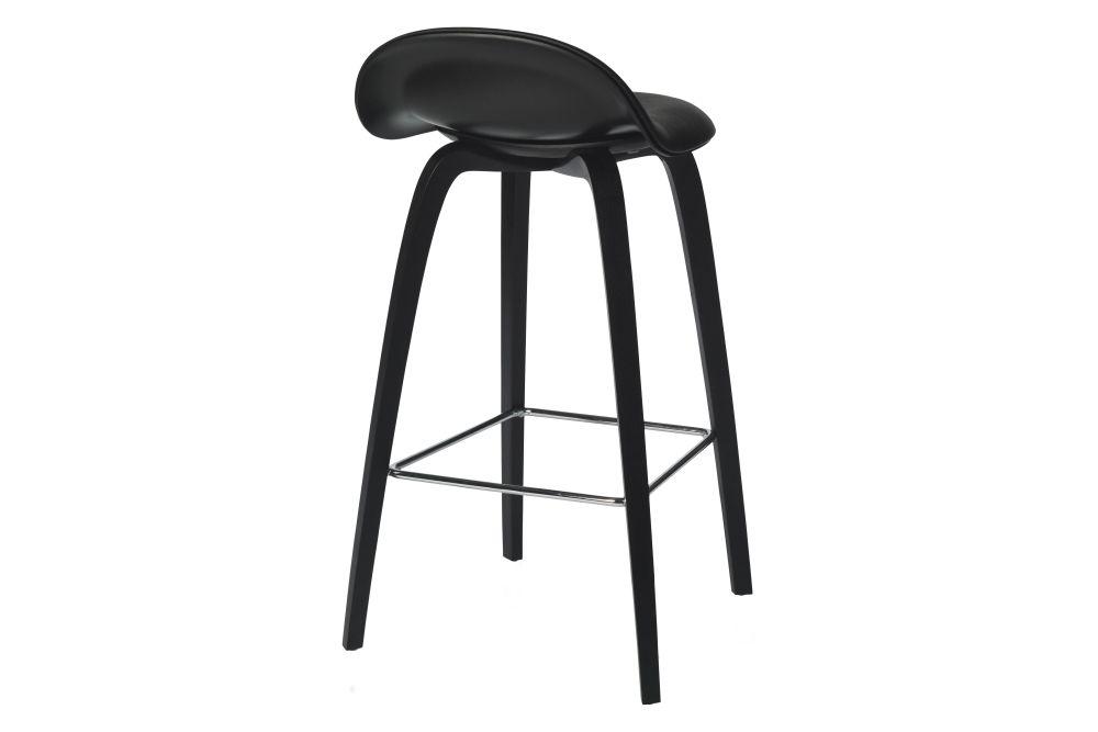 3D Counter Stool - Front Upholstered, Wood base, Hirek Shell by Gubi