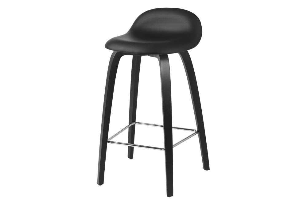 3D Counter Stool - Front Upholstered, Wood base, Wood Shell by Gubi