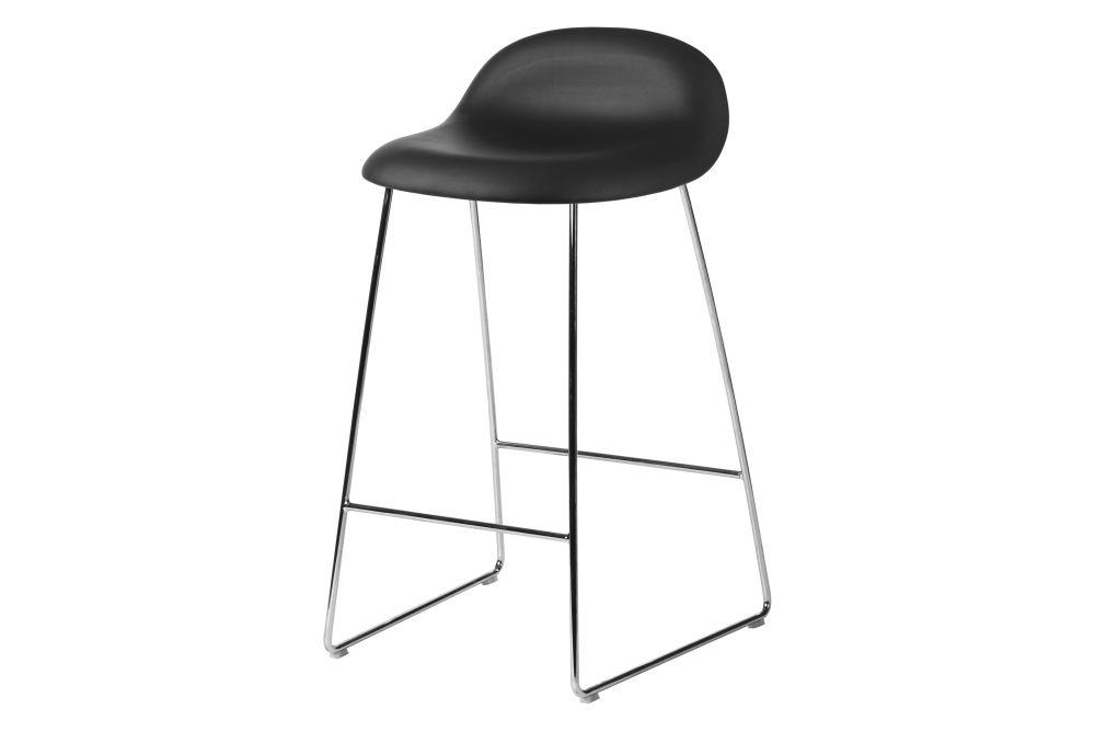 3D Counter Stool - Fully Upholstered, Sledge base by Gubi