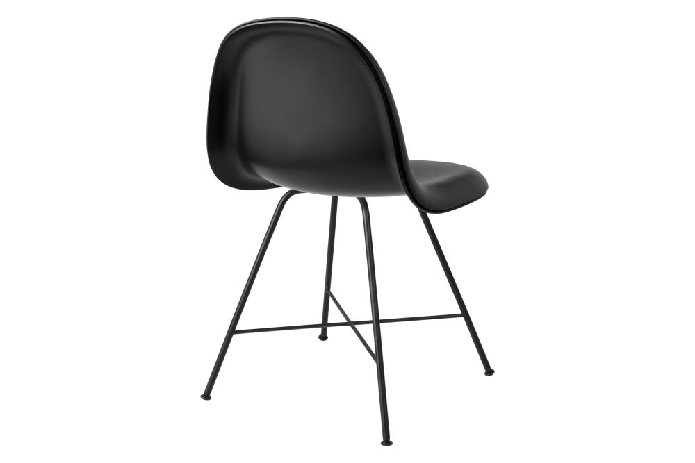 3D Dining Chair - Front Upholstered, Center Base, Hirek Shell by Gubi