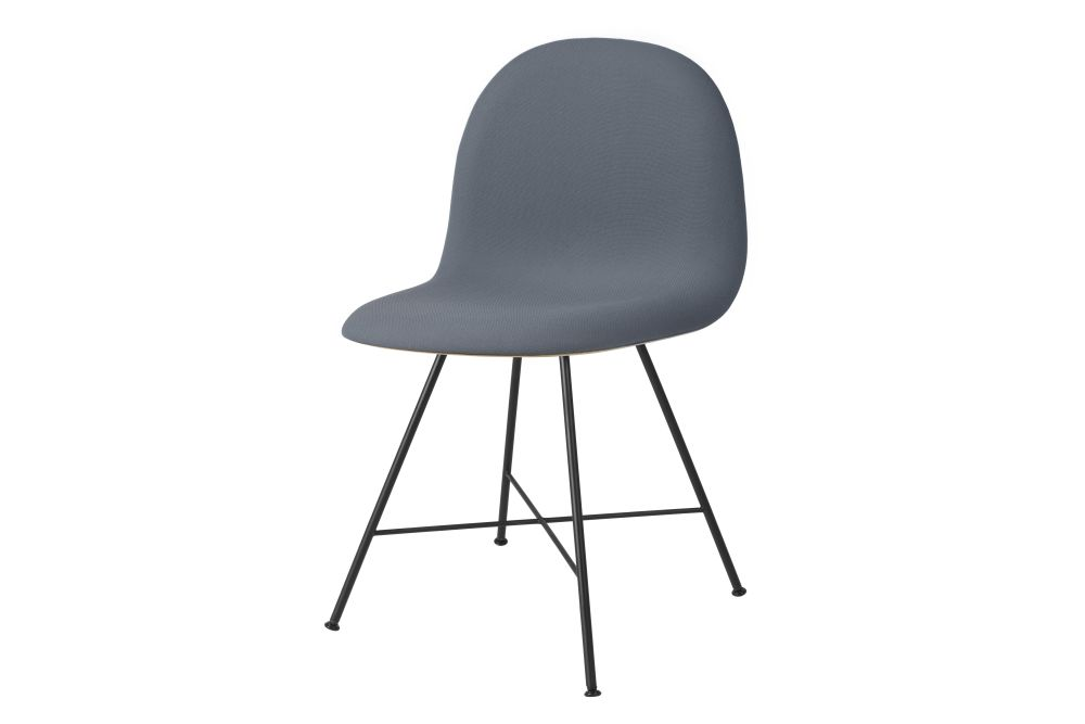 3D Dining Chair - Front Upholstered, Center Base, Wood Shell by Gubi