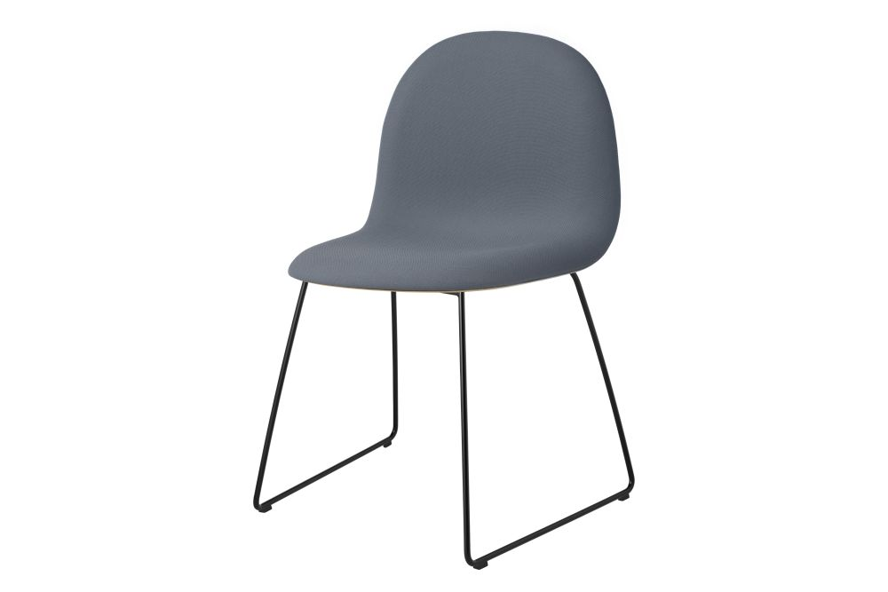 3D Dining Chair - Front Upholstered, Sledge Base, Stackable, Wood Shell by Gubi