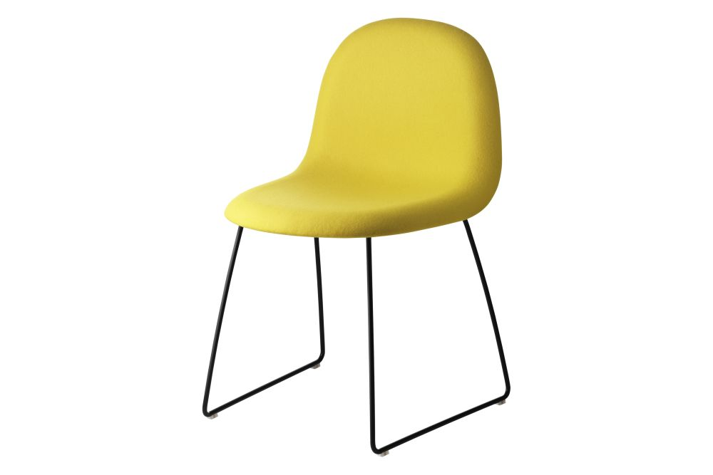 3D Dining Chair - Fully Upholstered, Sledge Base, Stackable by Gubi