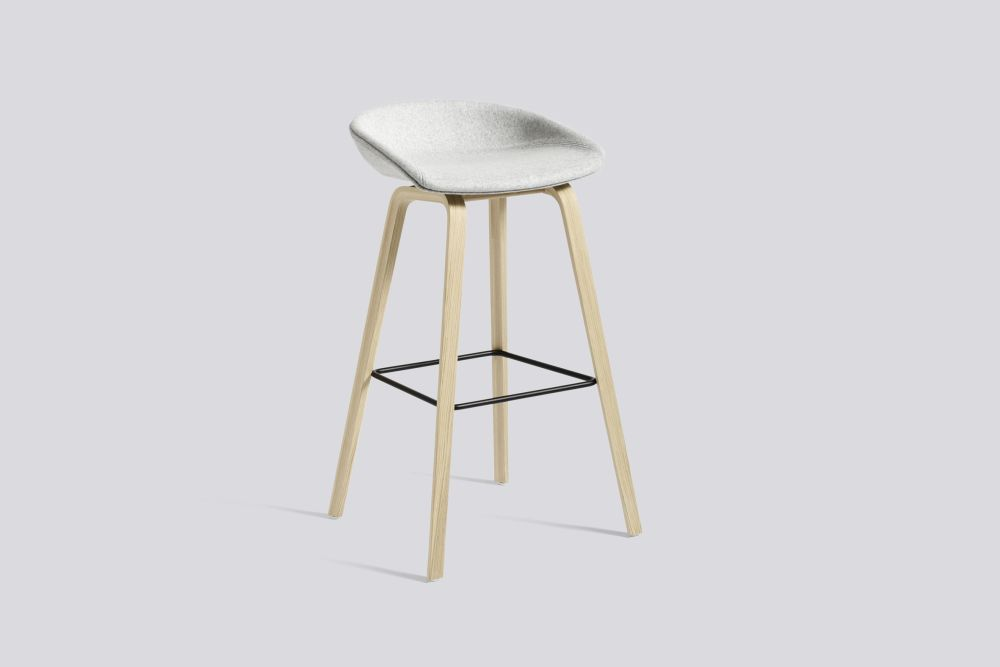 About A Stool AAS33 High Stool, Matt Lacquered Oak Legs by Hay