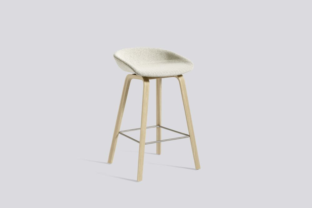 About A Stool AAS33 Low Stool, Matt Lacquered Oak Legs by Hay