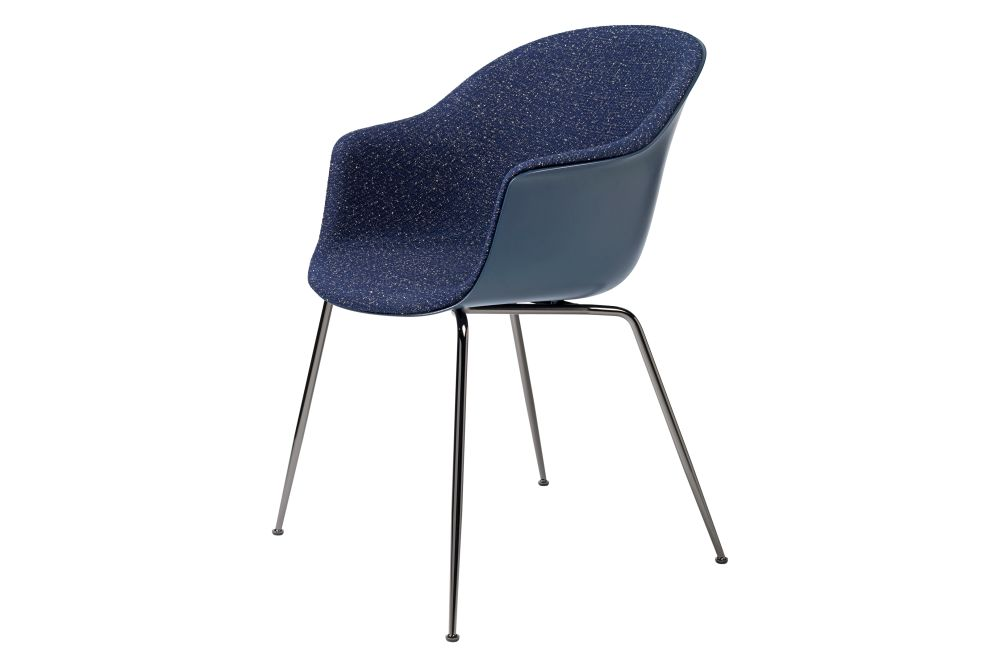Bat Dining Chair - Front Upholstered, Conic base by Gubi