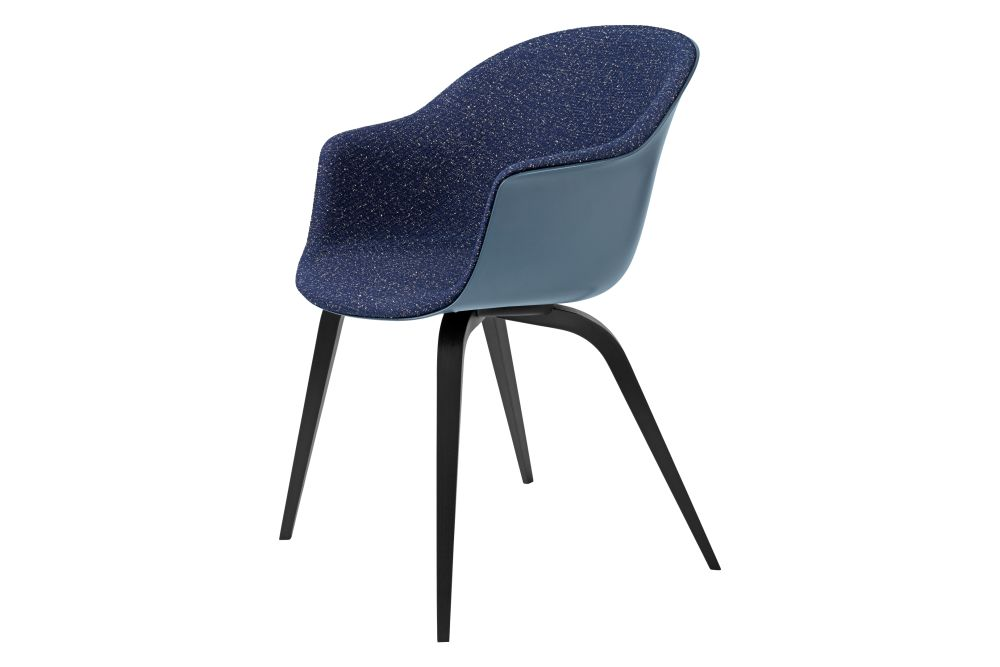 Bat Dining Chair - Front Upholstered, Wood base by Gubi