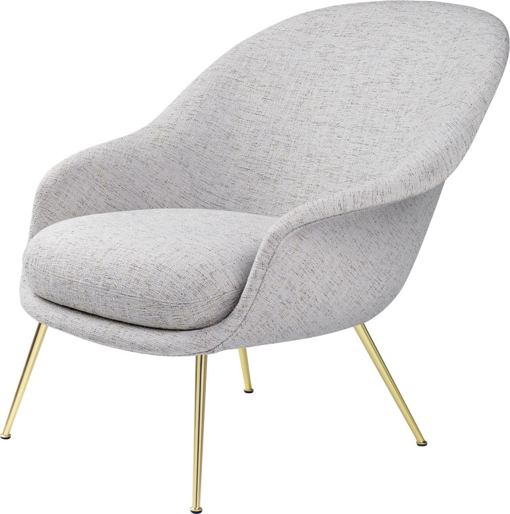 Bat Lounge Chair - Fully Upholstered, Low back, Conic base by Gubi