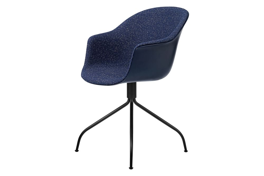 Bat Meeting Chair Front Upholstered Swivel Base Gubi Metal Black