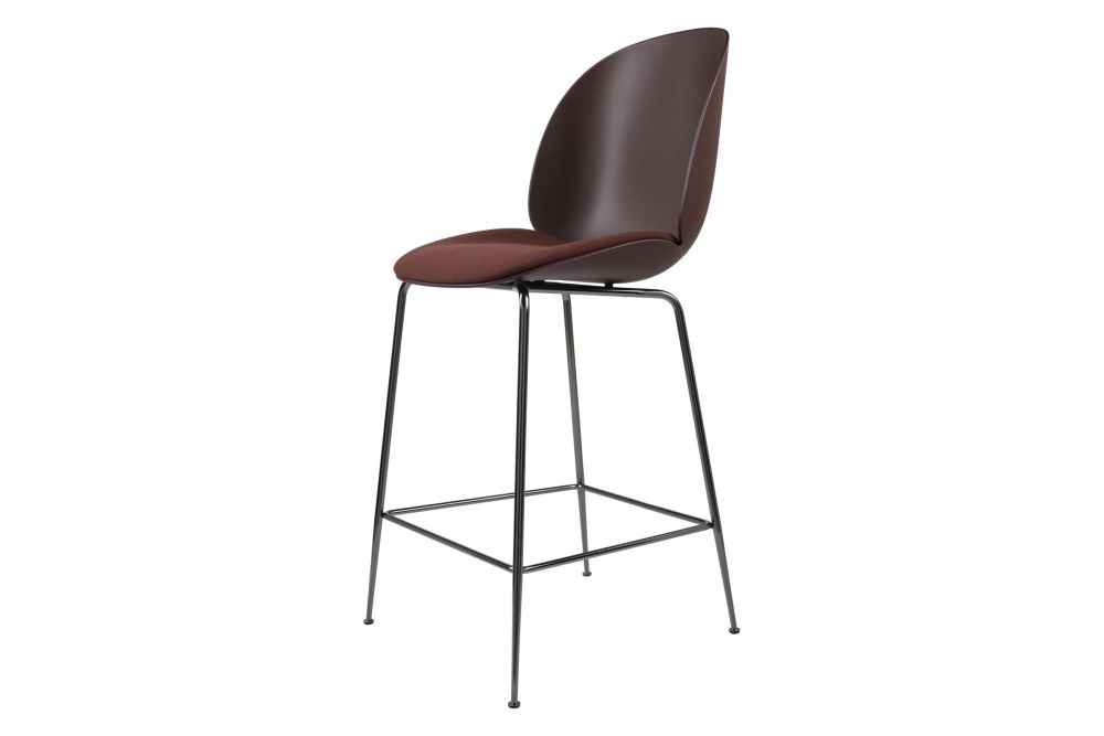 Beetle Counter Chair - Seat Upholstered, Conic Base by Gubi