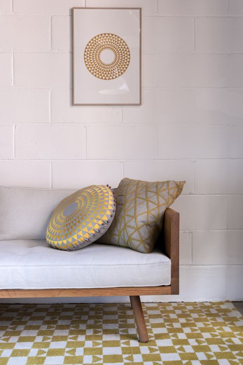 Berber Chartreuse & Linen with Concentric Cushion in Chartreuse & Dove Grey