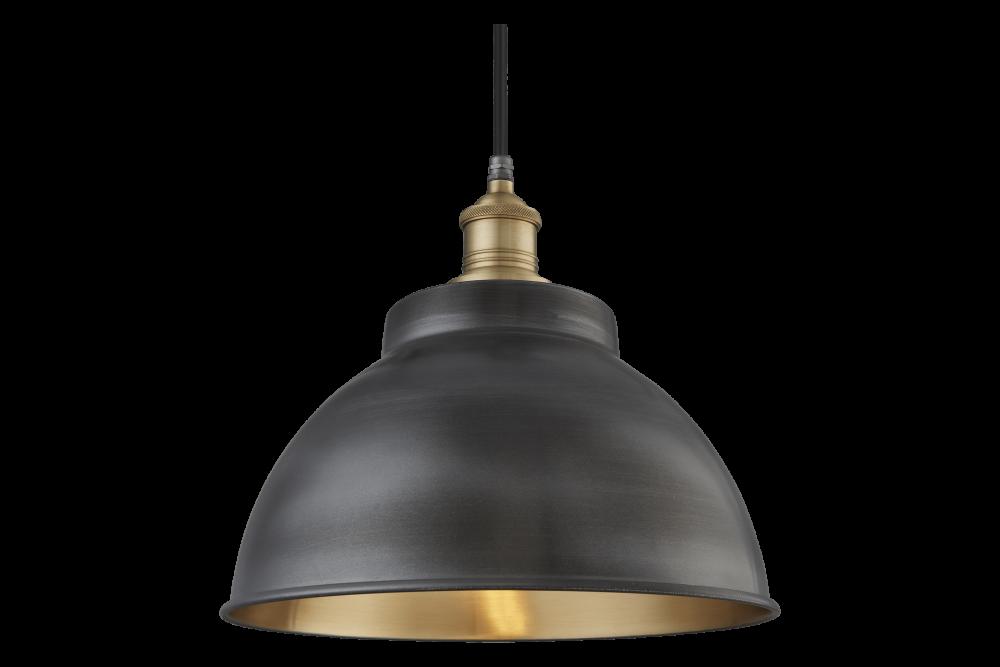 Pewter and Brass - Brass Holder, Globe Glass,INDUSTVILLE,Pendant Lights