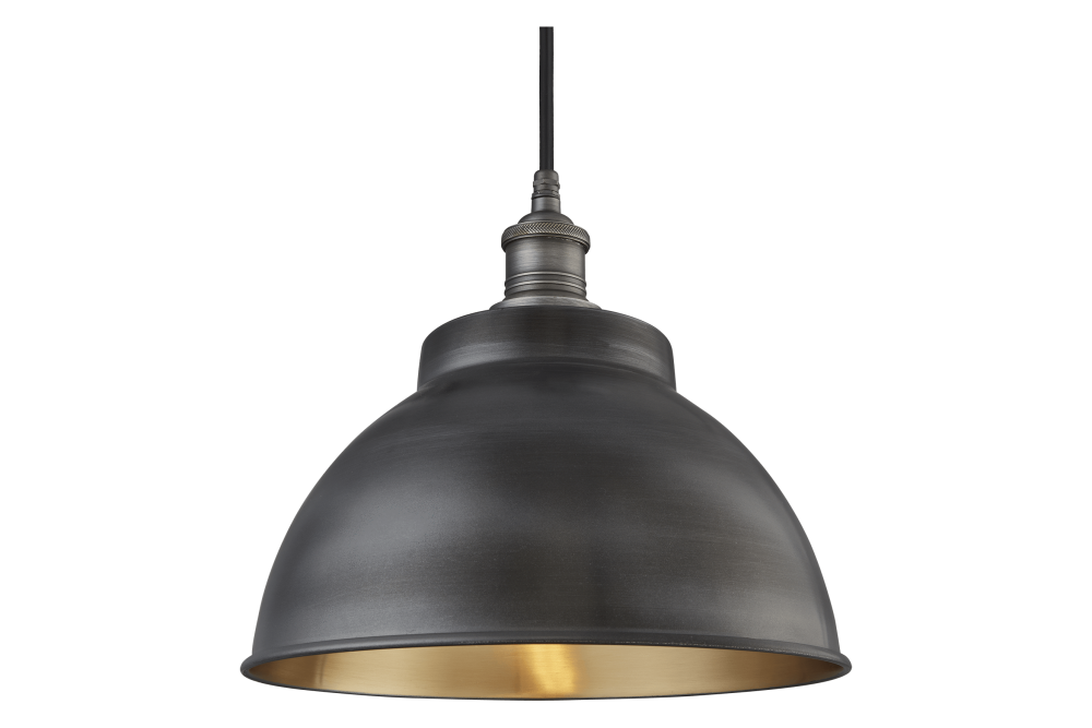 Pewter and Brass - Pewter Holder, Globe Glass,INDUSTVILLE,Pendant Lights