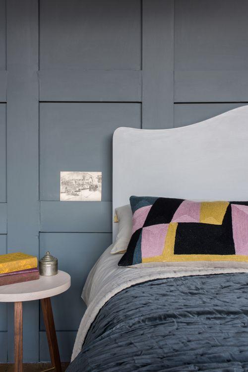 Charleston Cushion & Velvet Linen Slate Bedspread