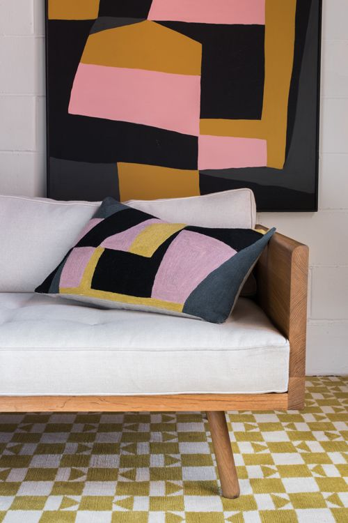 Charleston Cushion & Checkered Rug