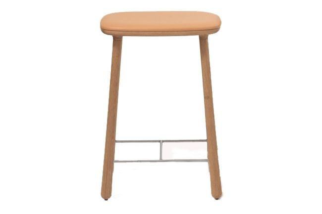 Oiled Oak, Black Leather, 77 cm,Mobel Copenhagen,Stools