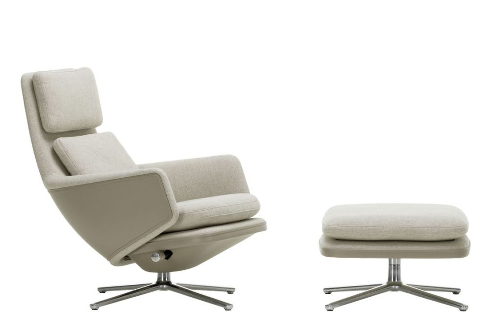 F80 - Grand Relax, Leather Forte 01 Cognac, 03 Aluminium Polished, 46.5, 44.5, 04 Glides for Carpet,Vitra,Lounge Chairs