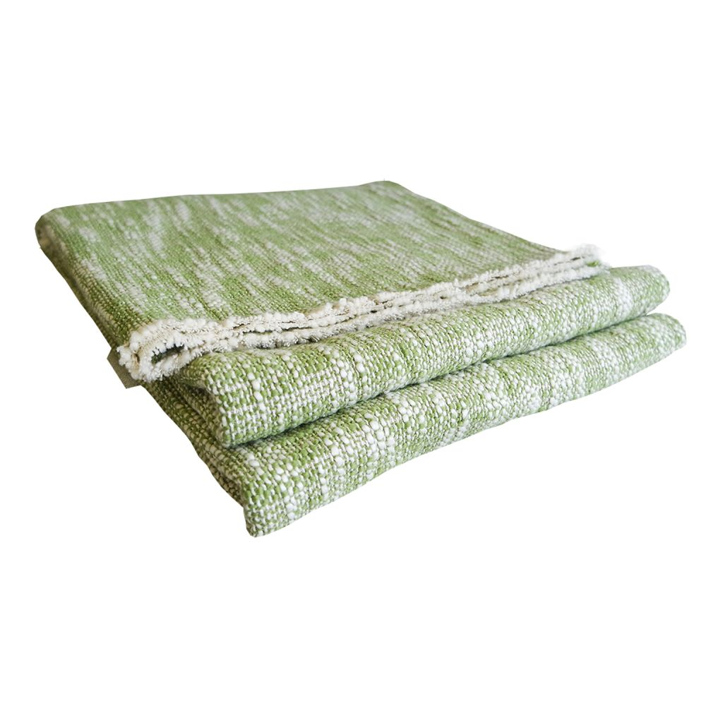 Hand Woven Textured Throw Lime by Nitin Goyal London