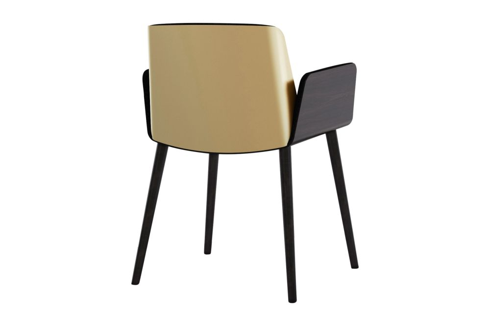 Hug Veneered Exterior Armchair with Aluminium Back and Wood Legs by Punt