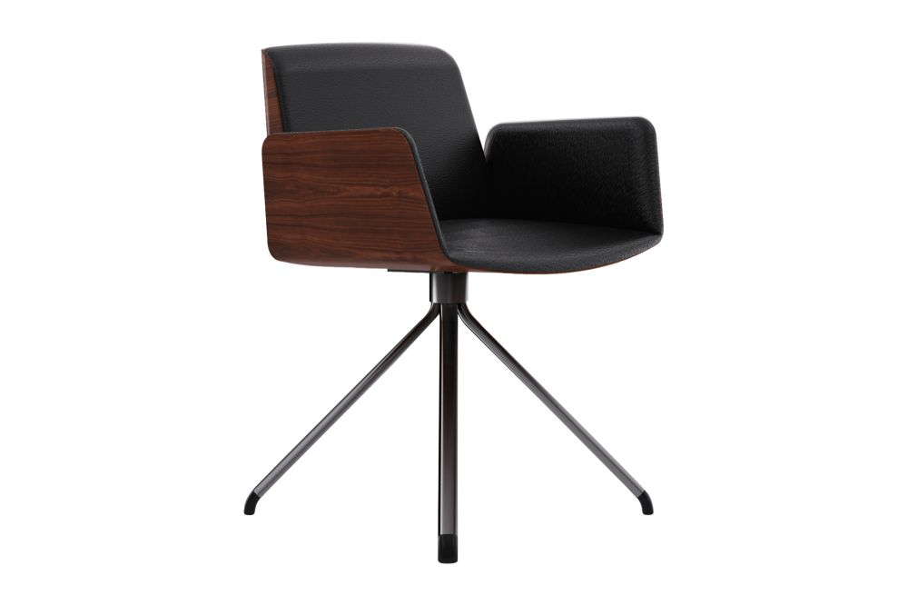 Hug Veneered Exterior Office Chair with Metal Legs and Revolving System by Punt