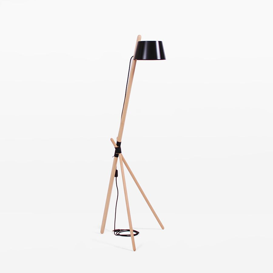 Black with leather tray,WOODENDOT,Floor Lamps,lamp,light fixture,lighting,tripod