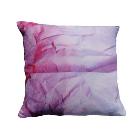 Lilac Crinkled Paper Print Square Cushion by Suzanne Goodwin