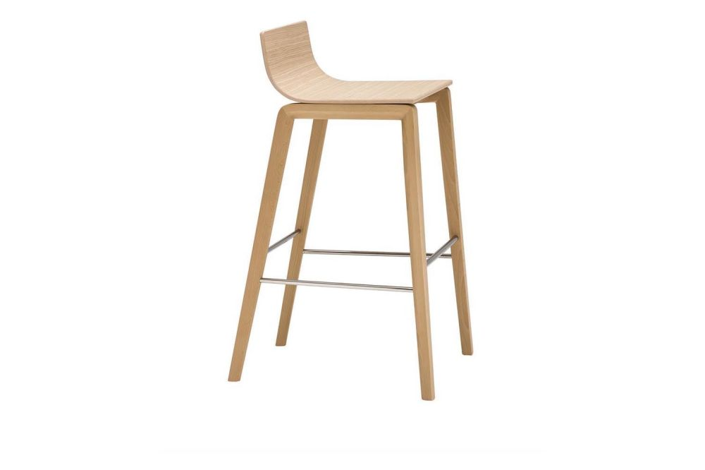 Lineal Wood Base Bar Stool by Andreu World
