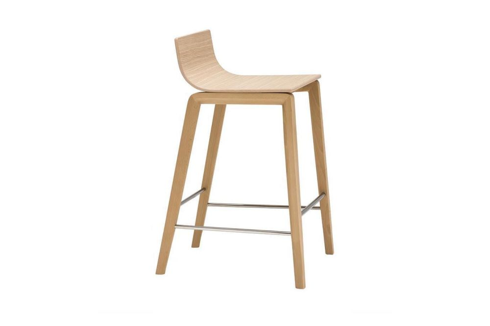 Lineal Wood Base Counter Stool by Andreu World