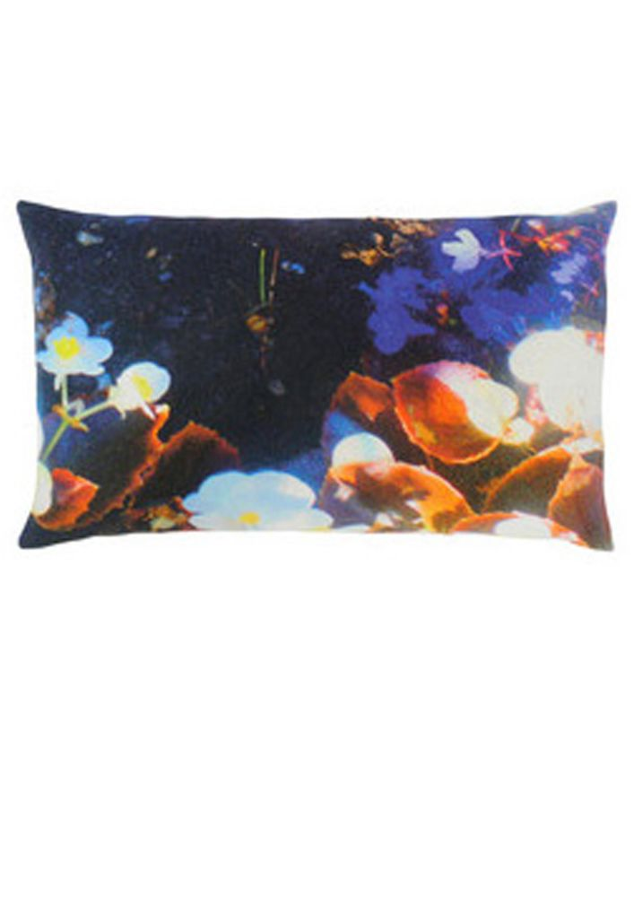 Luminous Lily & Violet Rectangular Cushion by Suzanne Goodwin