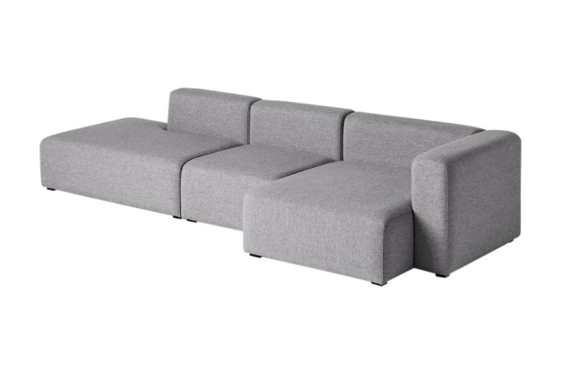 Mags Narrow 3 Seater Lounge Sofa with Chaise Right by Hay