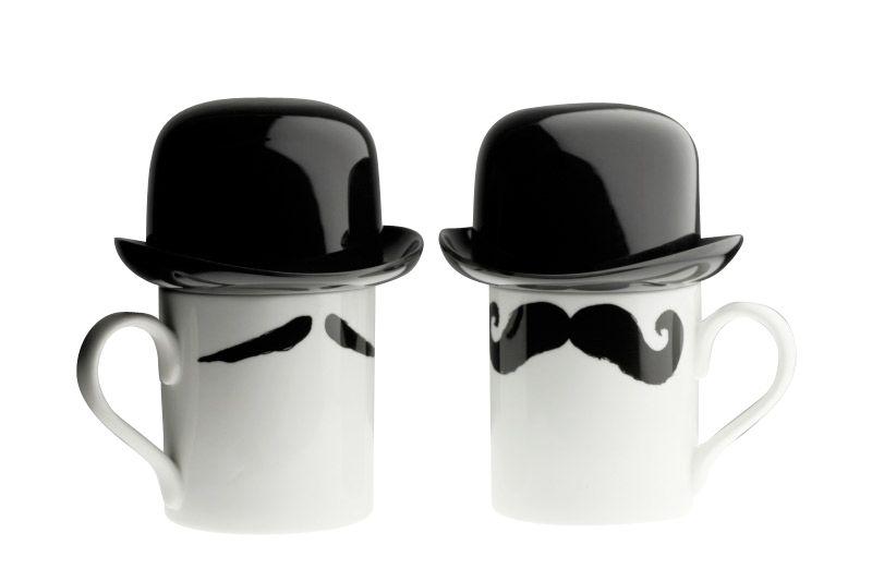 Maurice-Poirot original moustache mug with black bowler hat sugar bowl by Peter Ibruegger Studio