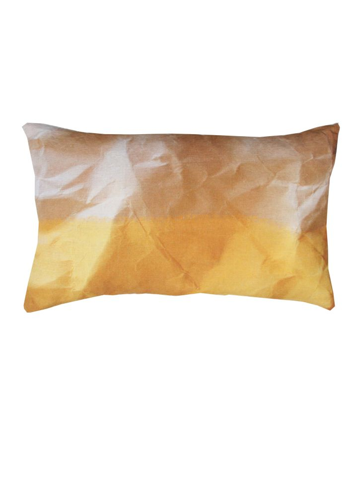Mello Yellow Crinkled Paper Print Rectangular Cushion by Suzanne Goodwin