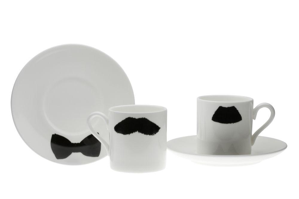 Mustafa Chaplin Moustache Espresso Cup and Saucer Set by Peter Ibruegger Studio