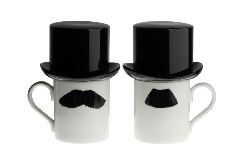 Mustafa Chaplin Moustache Mug with Sugar Bowl Top Hat by Peter Ibruegger Studio
