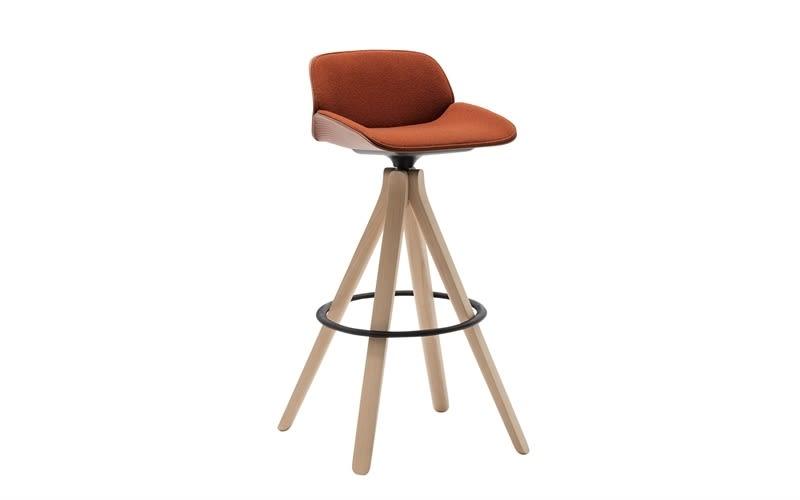 Nuez Wood Swivel Base Bar Stool with Seat and Backrest Cushion by Andreu World