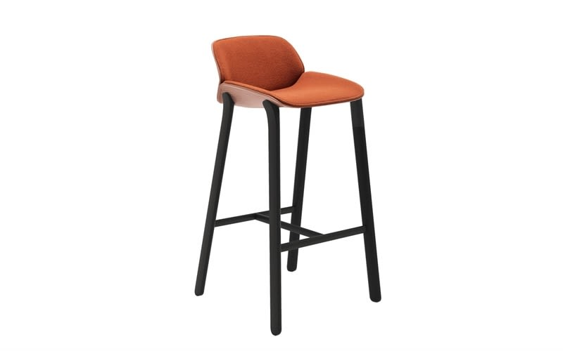 Nuez Wood Base Bar Stool with Seat and Backrest Cushion by Andreu World