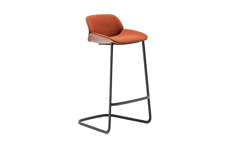 Nuez Cantilever Base  Bar Stool with  Seat and Backrest Cushion by Andreu World