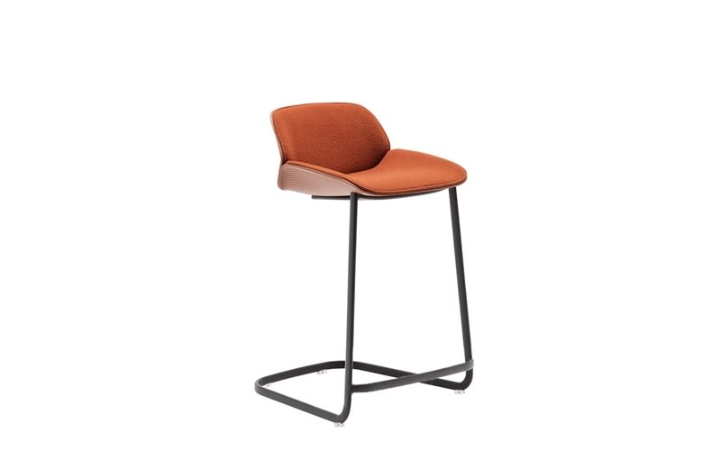 Nuez Cantilever Base Counter Stool with Seat and Backrest Cushion by Andreu World