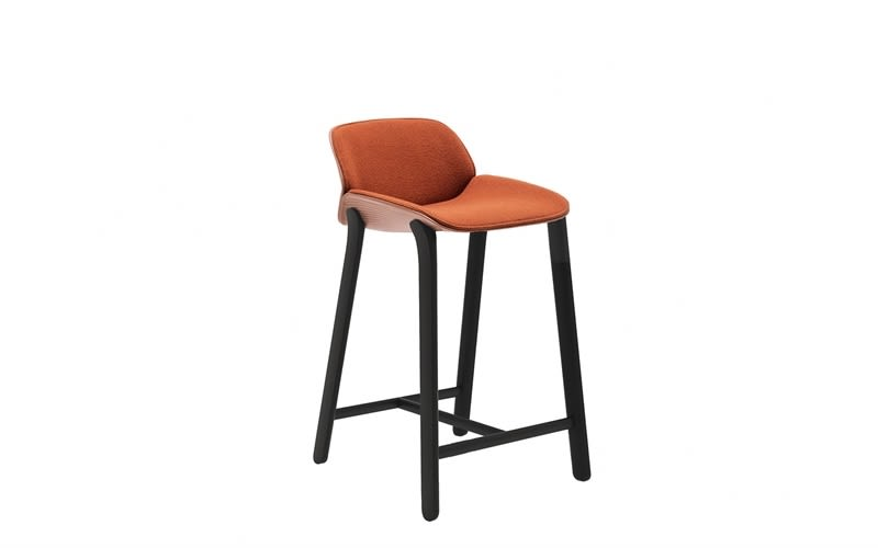 Nuez Counter Stool with Seat and Backrest Cushion by Andreu World